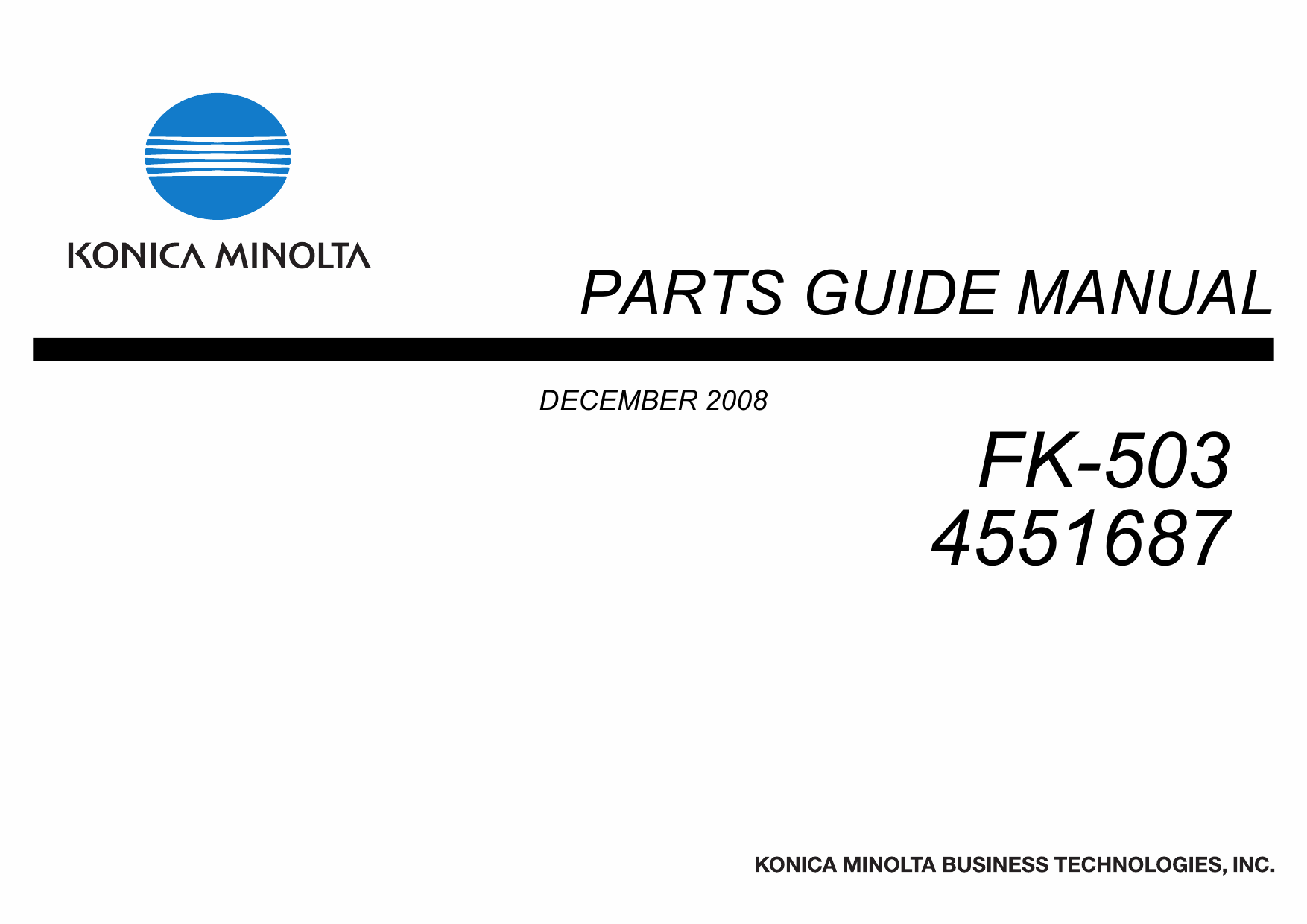 Konica-Minolta Options FK-503 4551687 Parts Manual-1